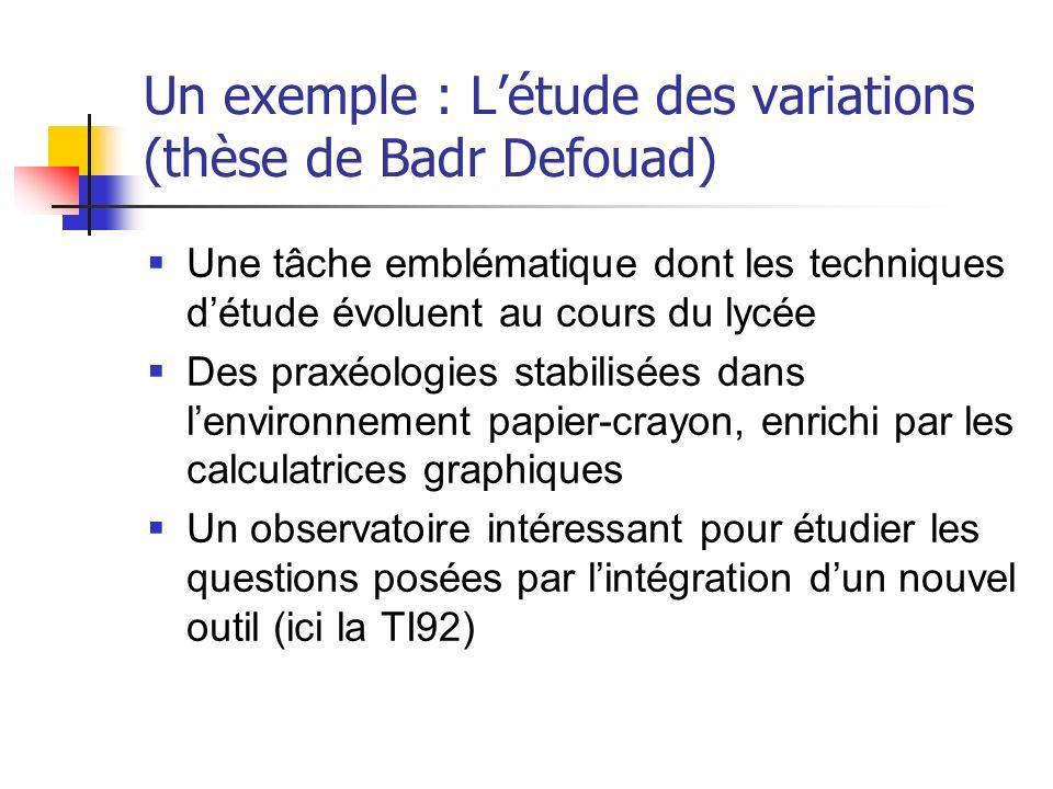 Un exemple : L'étude des variations (thèse de Badr Defouad)