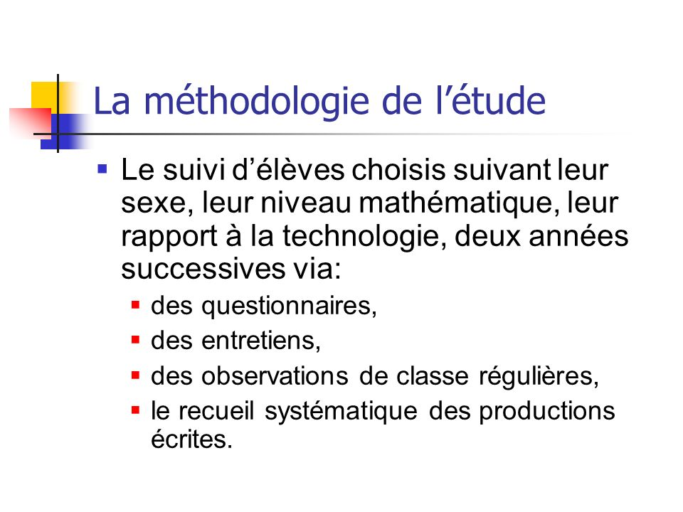 La méthodologie de l'étude