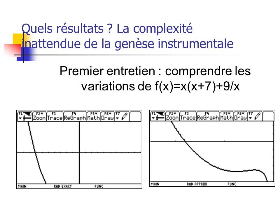 Quels résultats La complexité inattendue de la genèse instrumentale