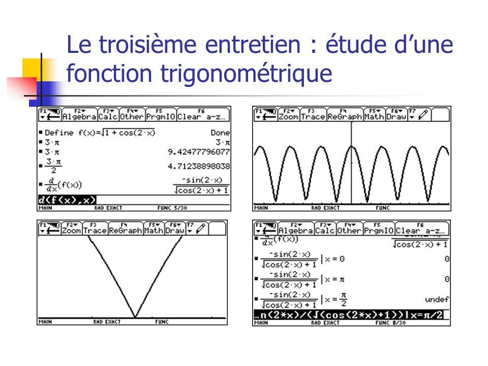 Le troisième entretien : étude d'une fonction trigonométrique