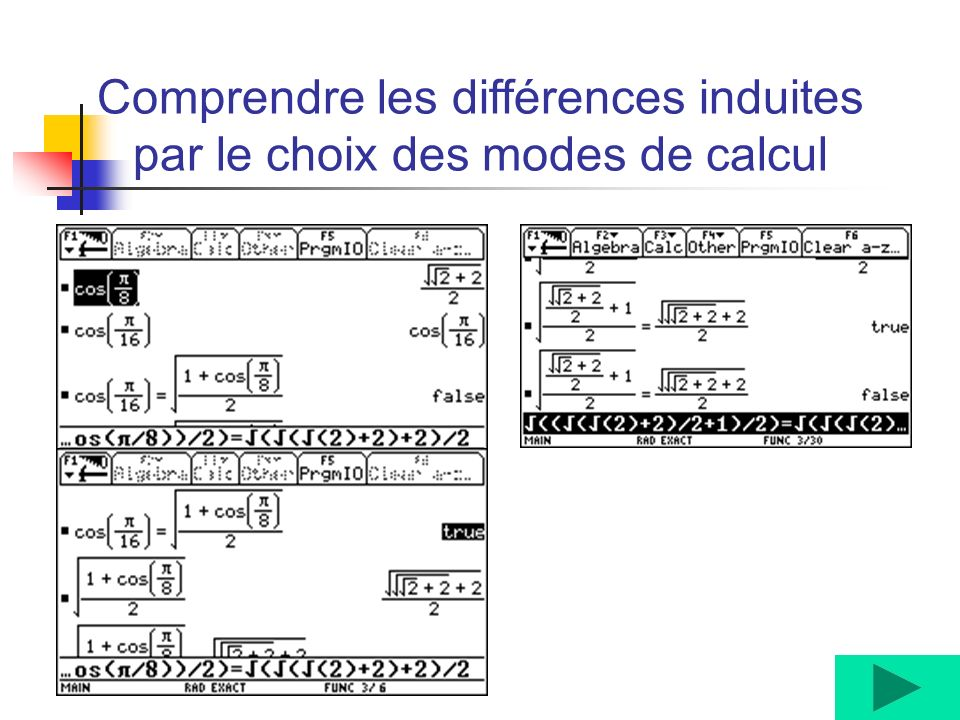 Comprendre les différences induites par le choix des modes de calcul