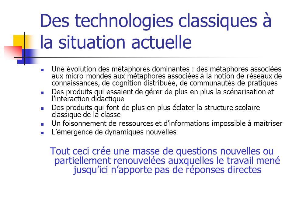 Des technologies classiques à la situation actuelle