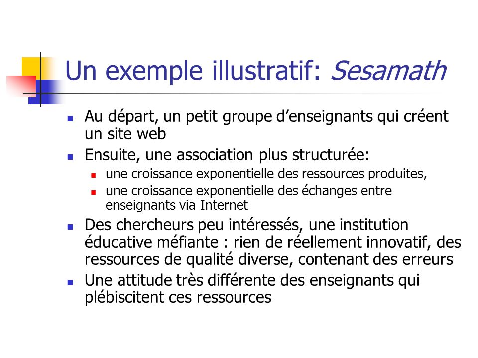 Un exemple illustratif: Sesamath