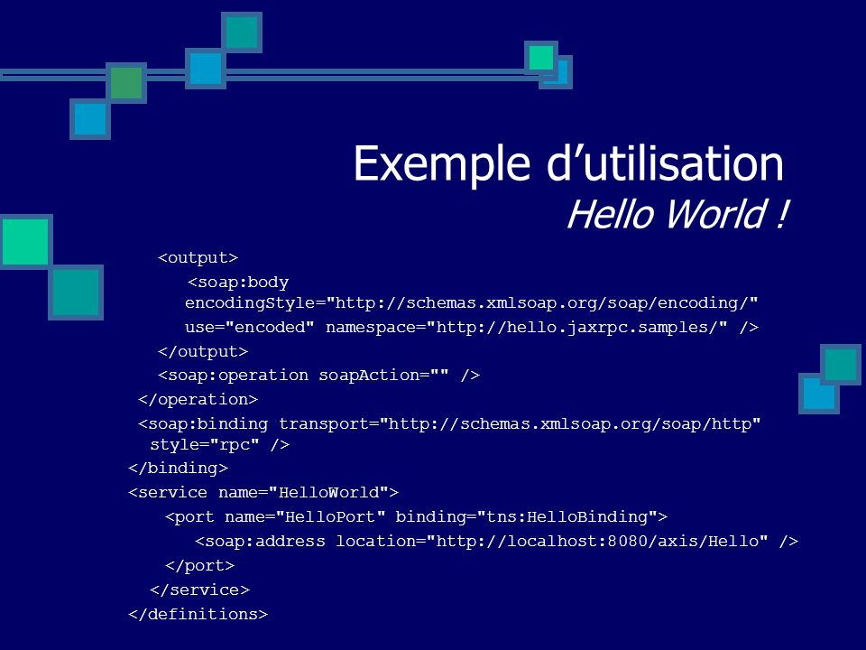Exemple d'utilisation Hello World !