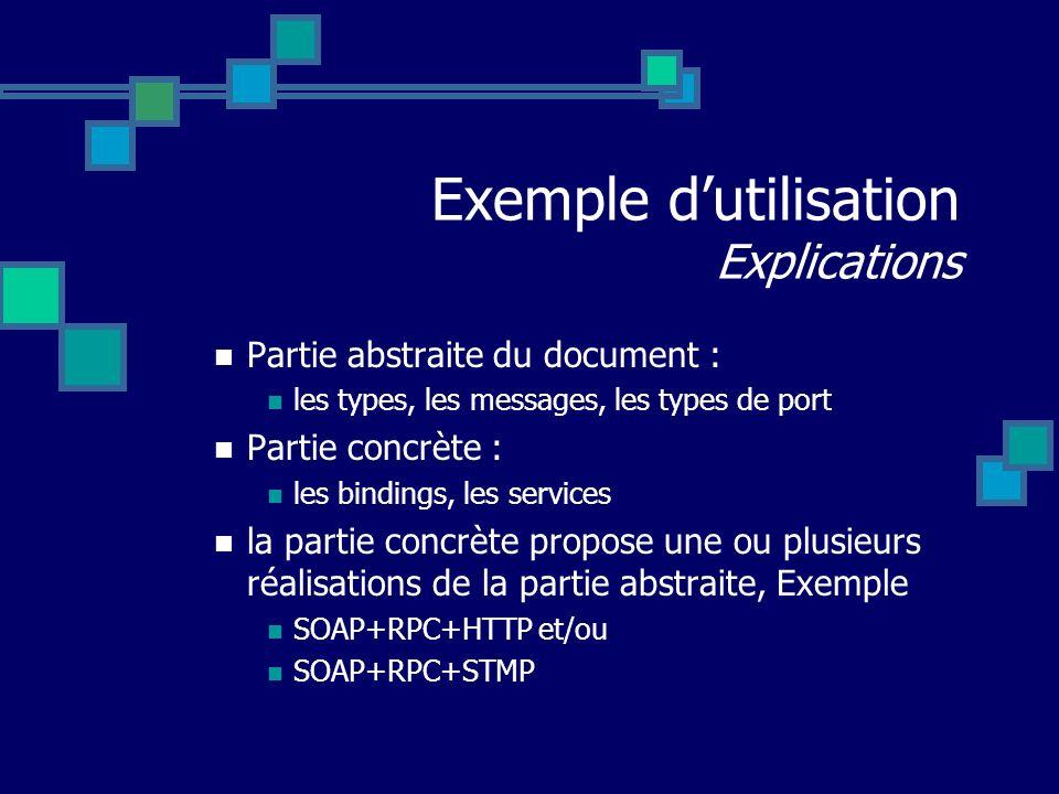 Exemple d'utilisation Explications