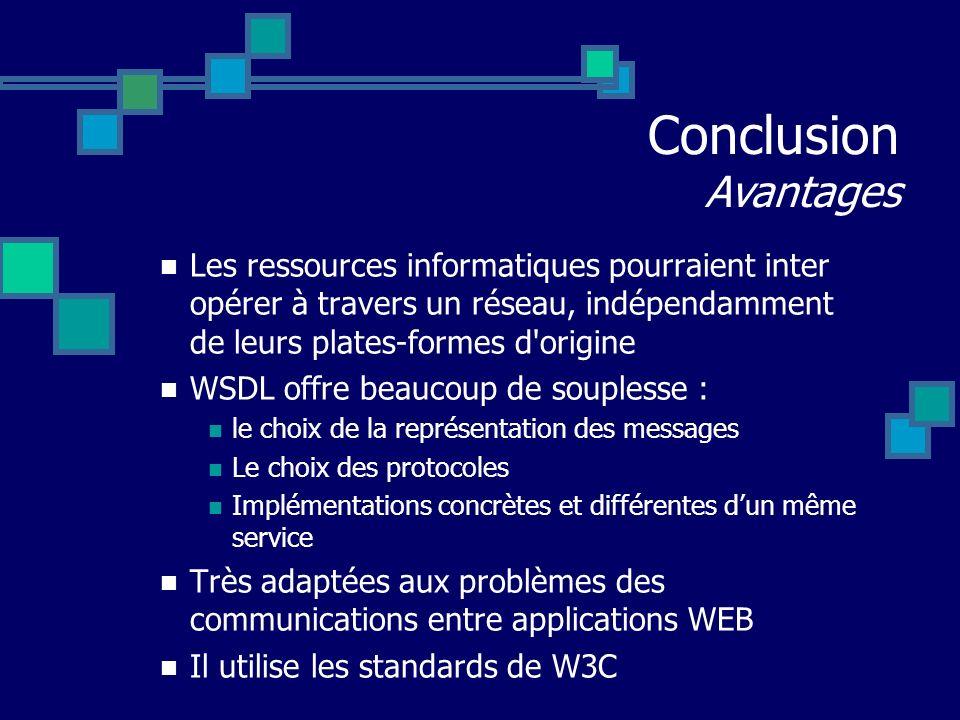 Conclusion Avantages Les ressources informatiques pourraient inter opérer à travers un réseau, indépendamment de leurs plates-formes d origine.