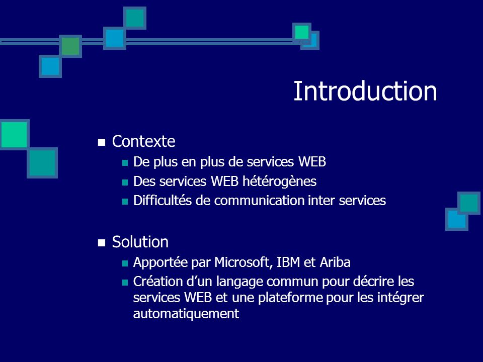 Introduction Contexte Solution De plus en plus de services WEB