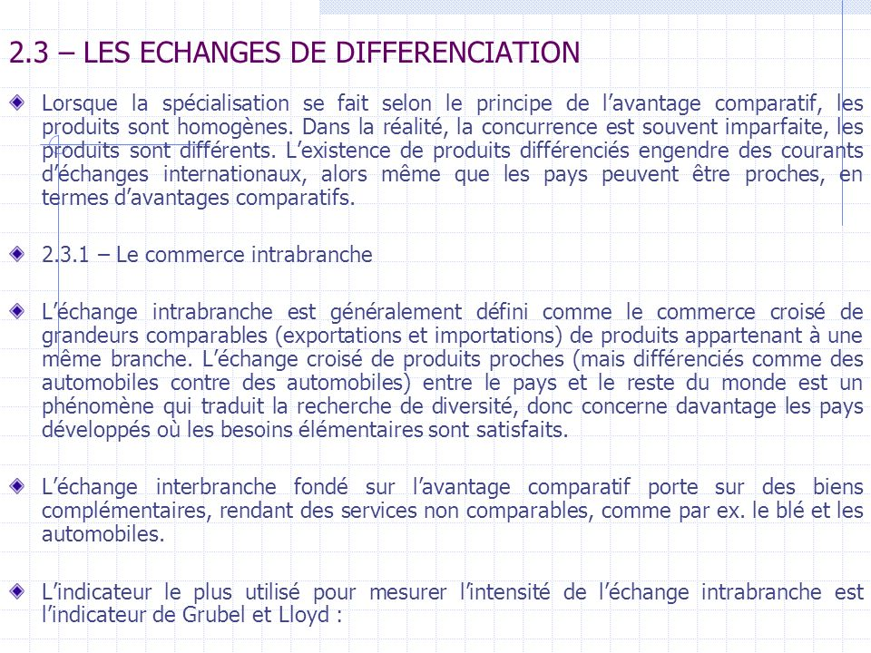 2.3 – LES ECHANGES DE DIFFERENCIATION