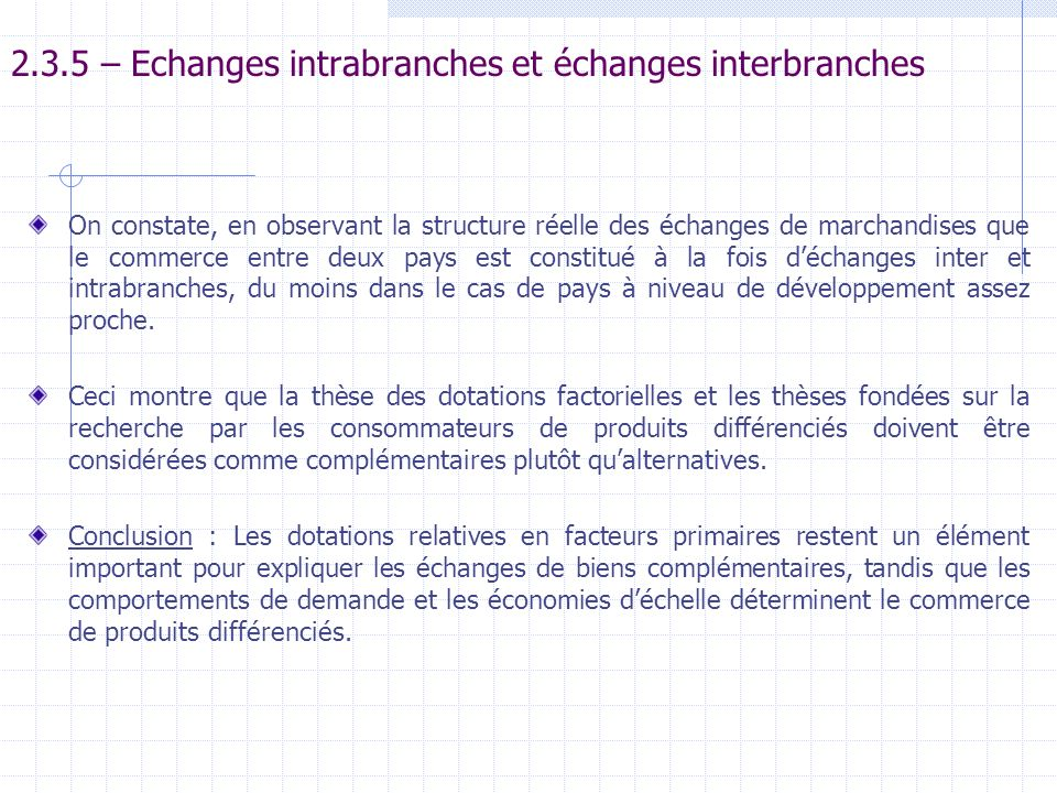 2.3.5 – Echanges intrabranches et échanges interbranches