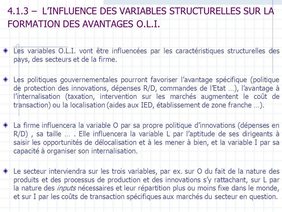 4.1.3 – L'INFLUENCE DES VARIABLES STRUCTURELLES SUR LA FORMATION DES AVANTAGES O.L.I.