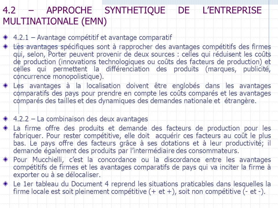 4.2 – APPROCHE SYNTHETIQUE DE L'ENTREPRISE MULTINATIONALE (EMN)