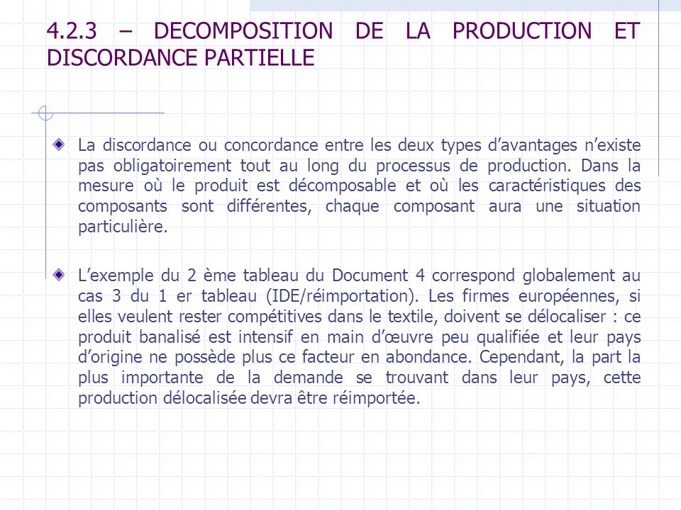 4.2.3 – DECOMPOSITION DE LA PRODUCTION ET DISCORDANCE PARTIELLE