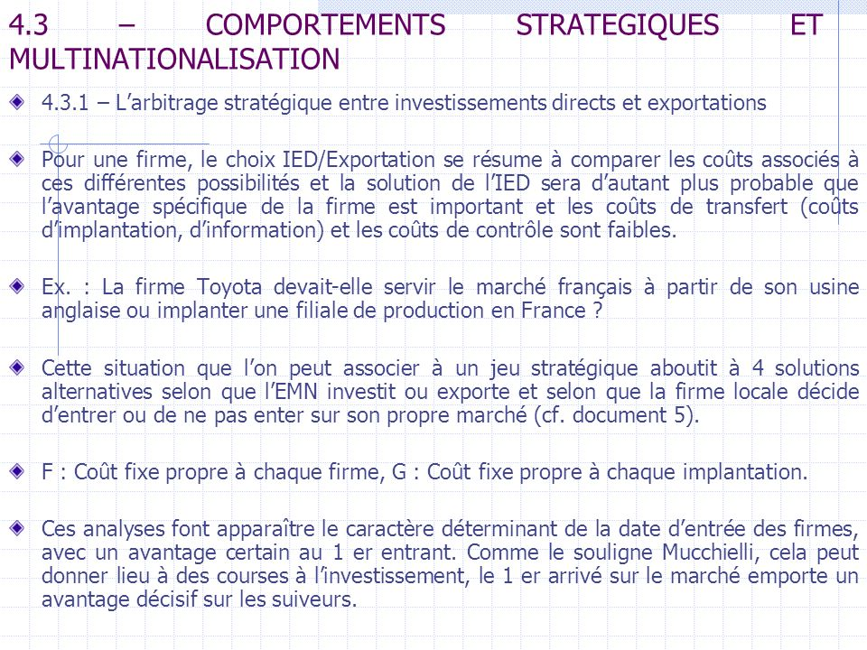 4.3 – COMPORTEMENTS STRATEGIQUES ET MULTINATIONALISATION