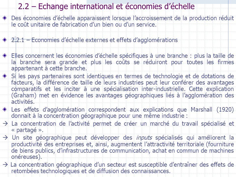 2.2 – Echange international et économies d'échelle