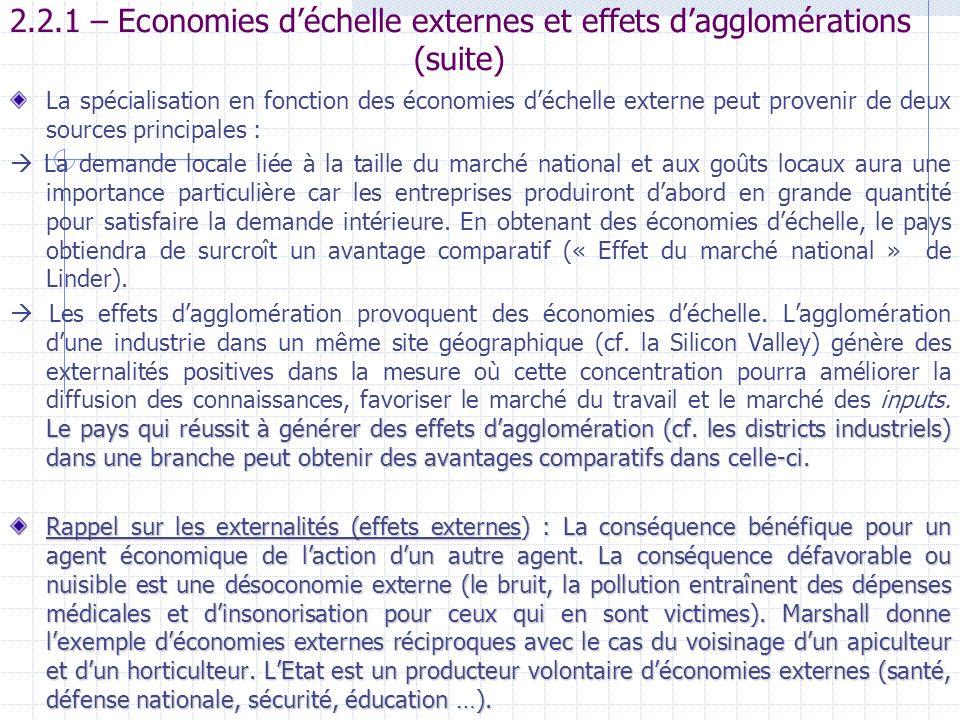 2.2.1 – Economies d'échelle externes et effets d'agglomérations (suite)