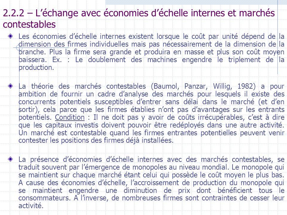 2.2.2 – L'échange avec économies d'échelle internes et marchés contestables