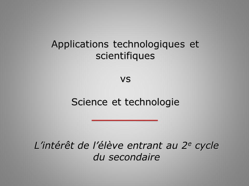Applications technologiques et scientifiques vs Science et technologie