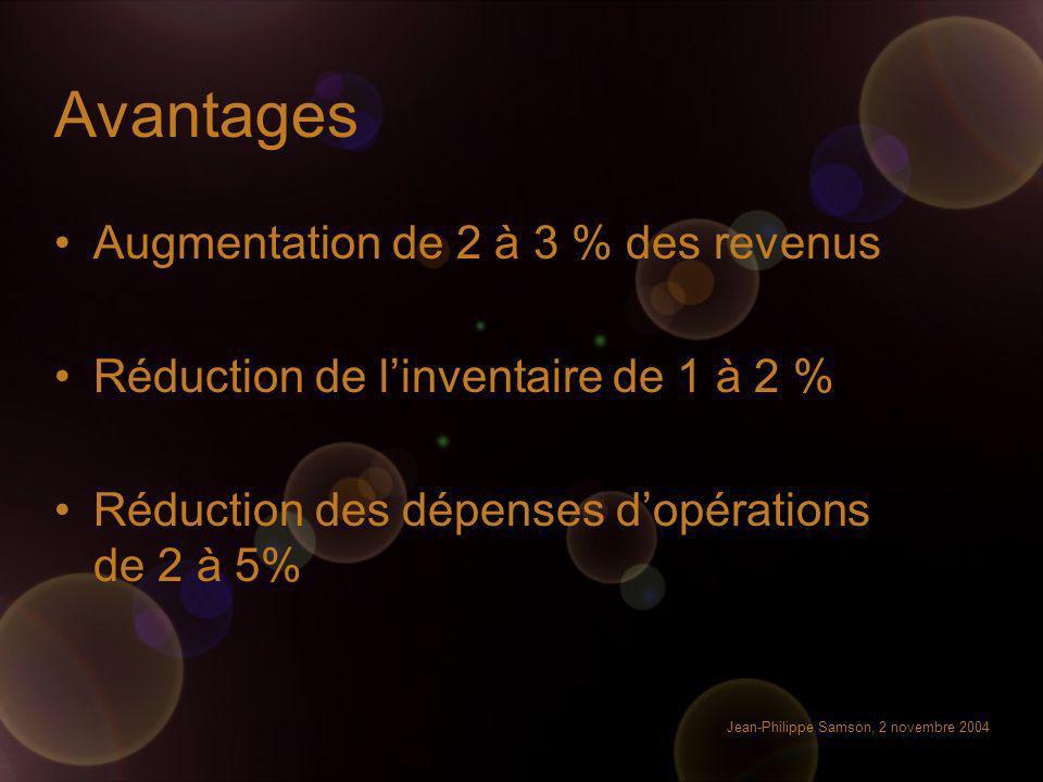 Avantages Augmentation de 2 à 3 % des revenus