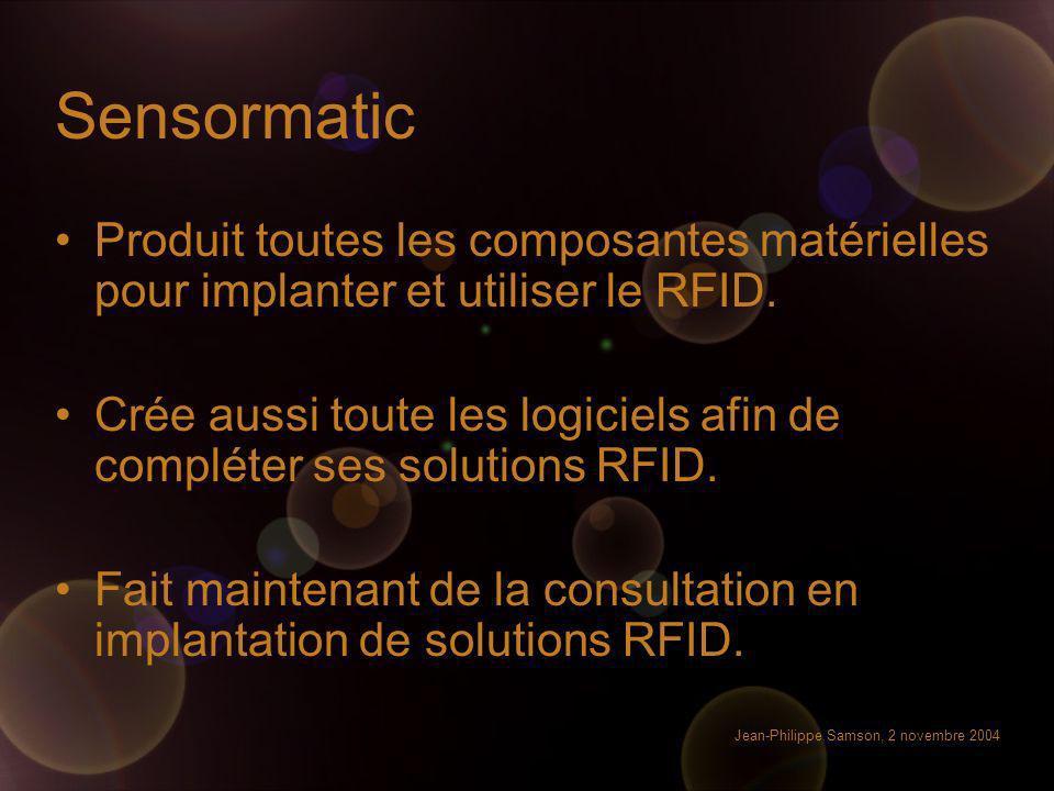Sensormatic Produit toutes les composantes matérielles pour implanter et utiliser le RFID.