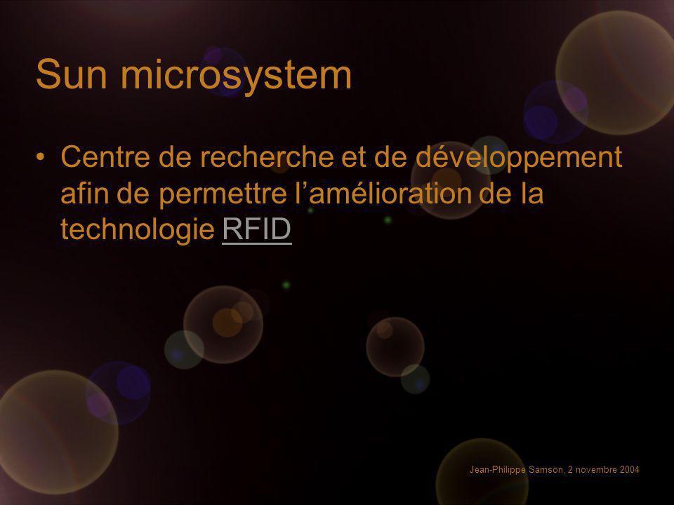 Sun microsystem Centre de recherche et de développement afin de permettre l'amélioration de la technologie RFID.