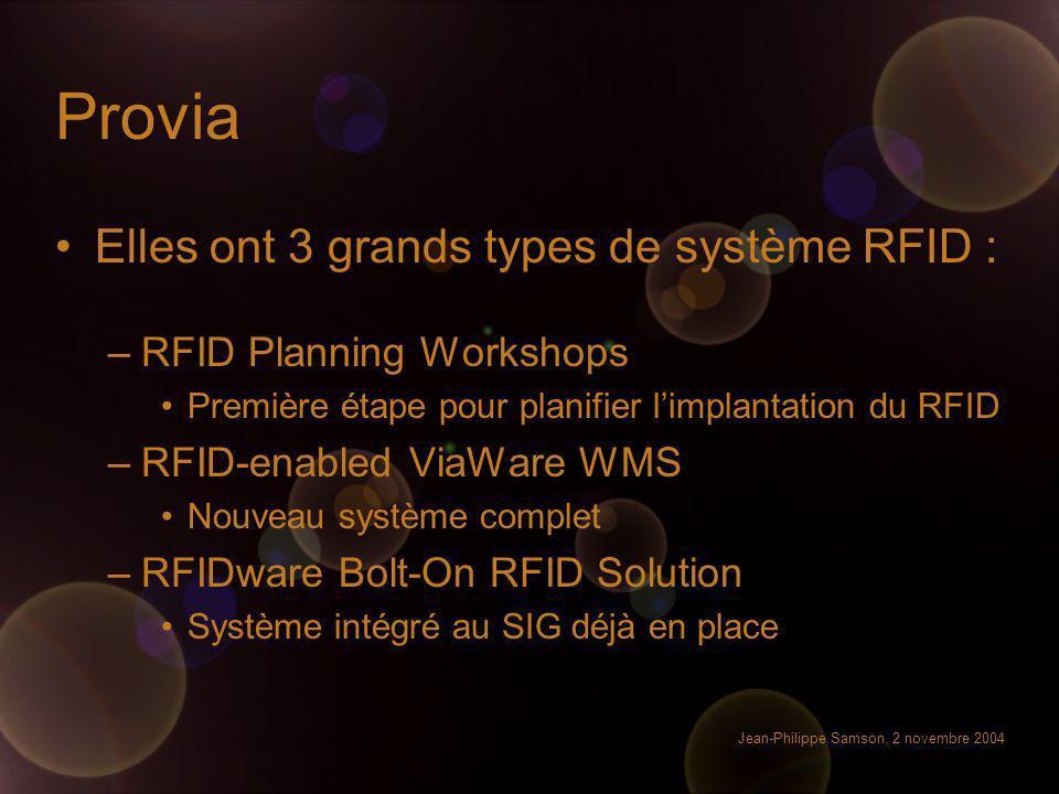 Provia Elles ont 3 grands types de système RFID :