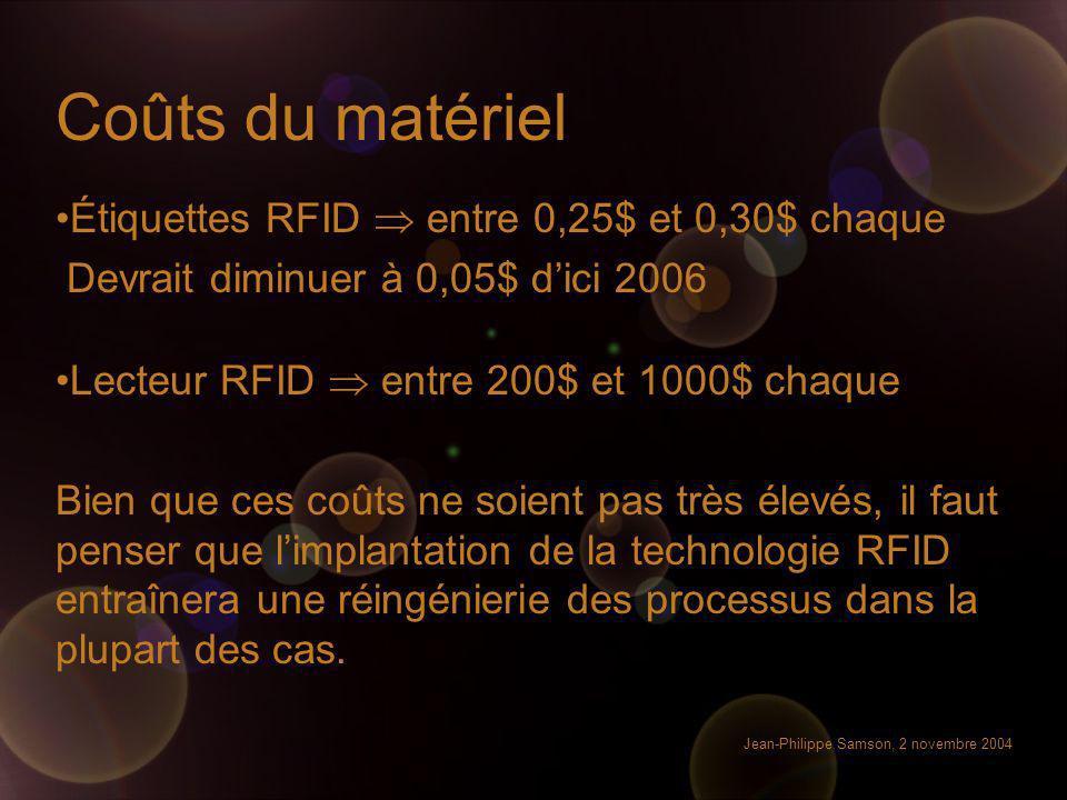 Coûts du matériel Étiquettes RFID  entre 0,25$ et 0,30$ chaque