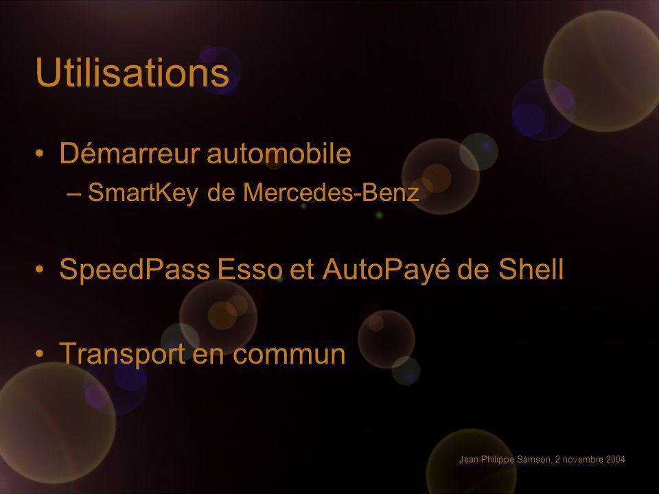 Utilisations Démarreur automobile SpeedPass Esso et AutoPayé de Shell