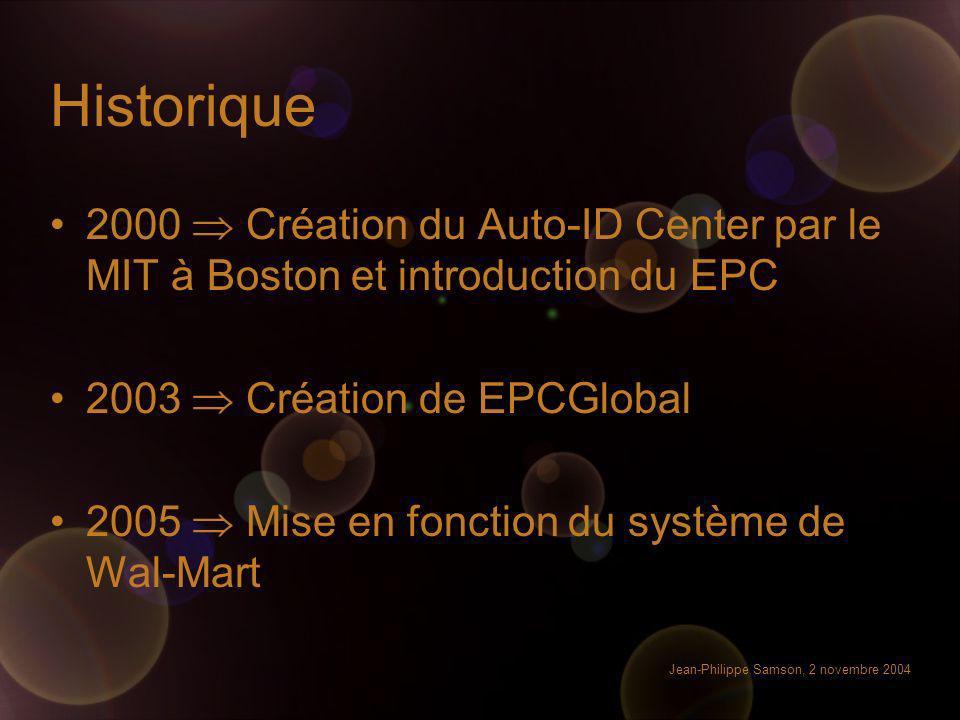 Historique 2000  Création du Auto-ID Center par le MIT à Boston et introduction du EPC. 2003  Création de EPCGlobal.