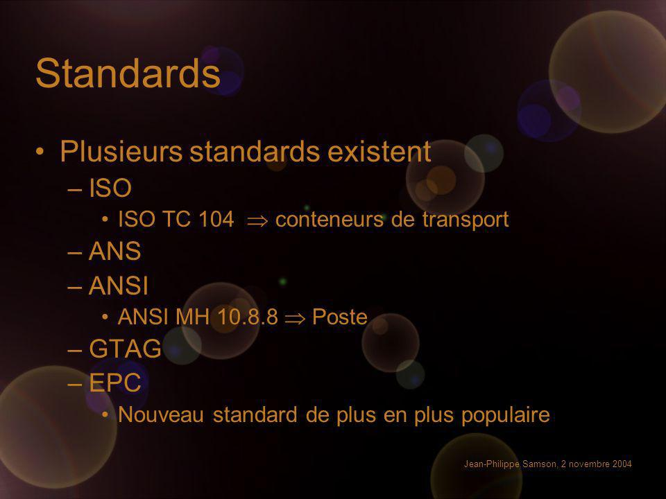 Standards Plusieurs standards existent ISO ANS ANSI GTAG EPC