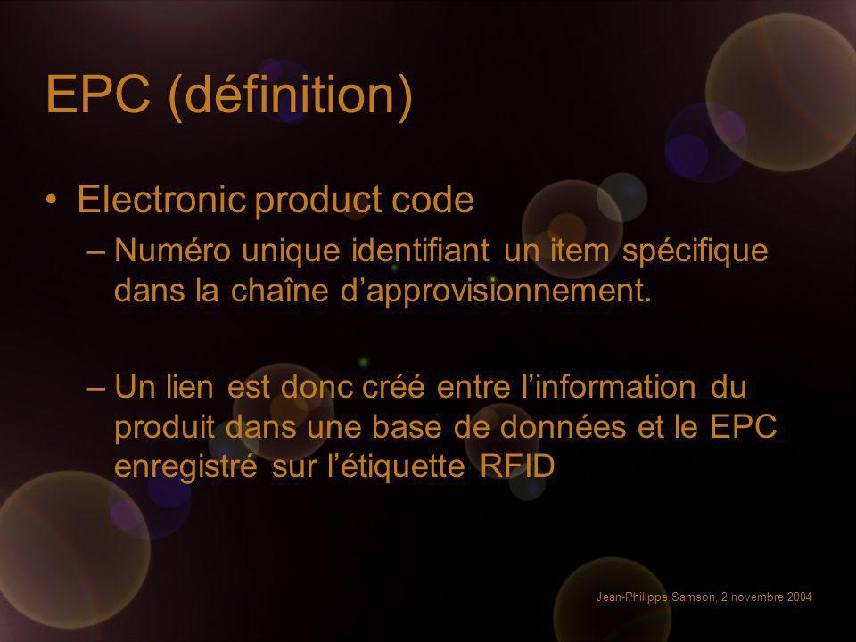EPC (définition) Electronic product code
