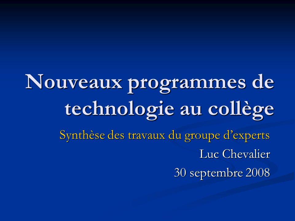 Nouveaux programmes de technologie au collège