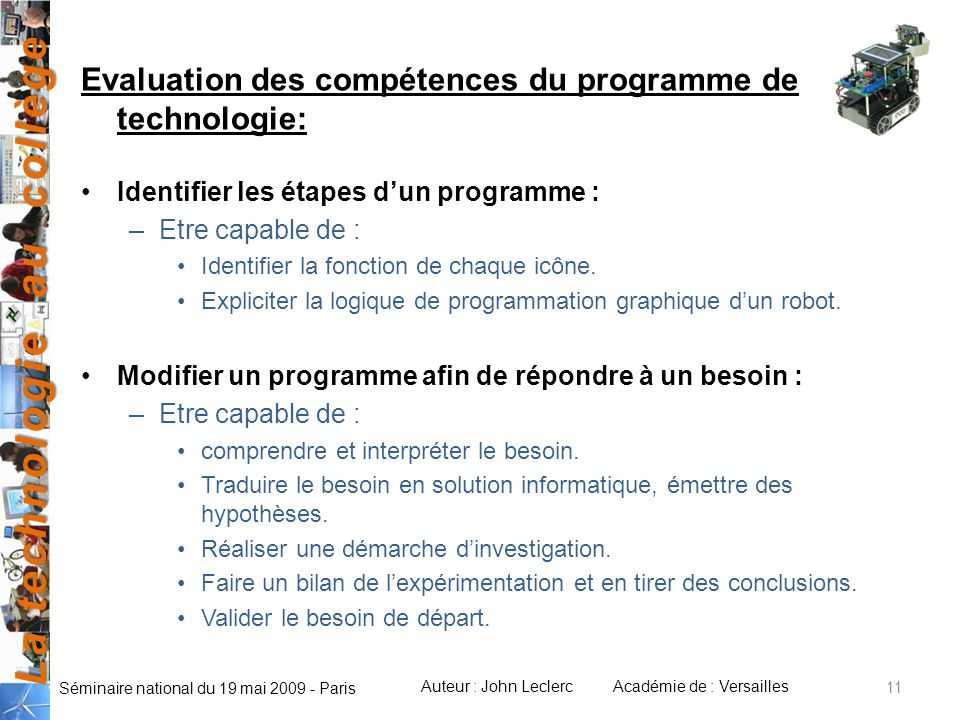 Evaluation des compétences du programme de technologie: