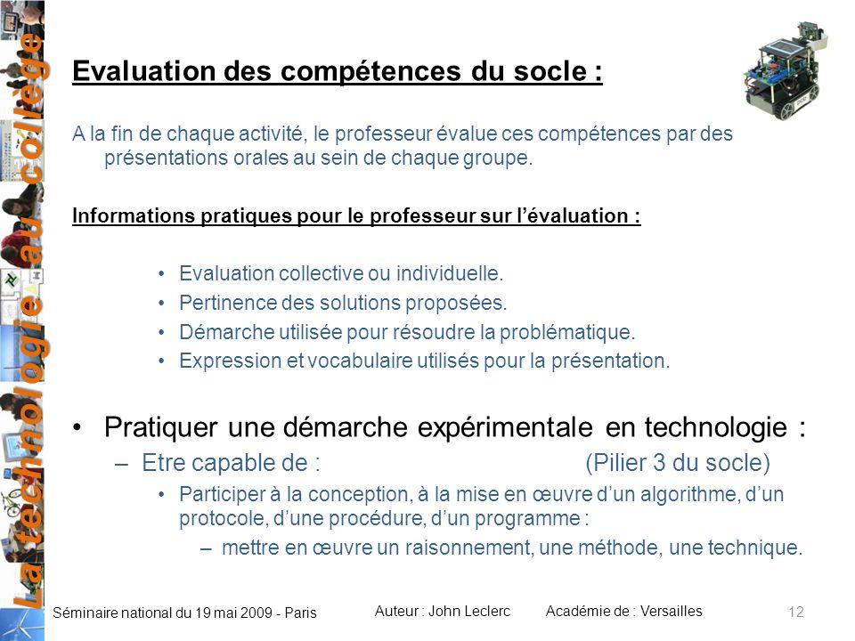 Evaluation des compétences du socle :