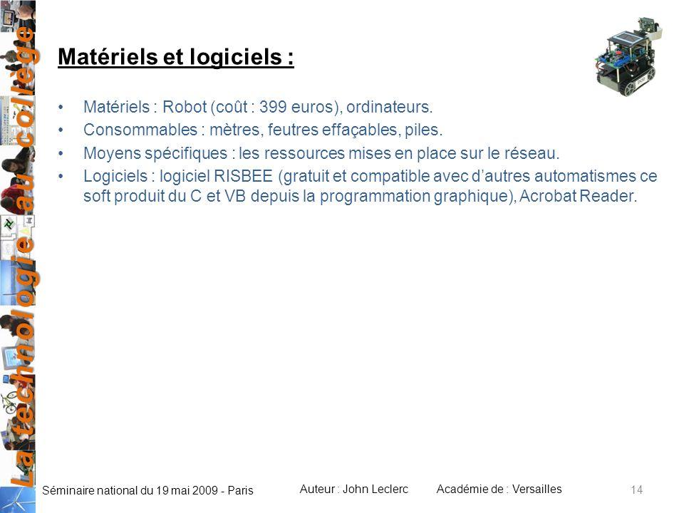 Matériels et logiciels :
