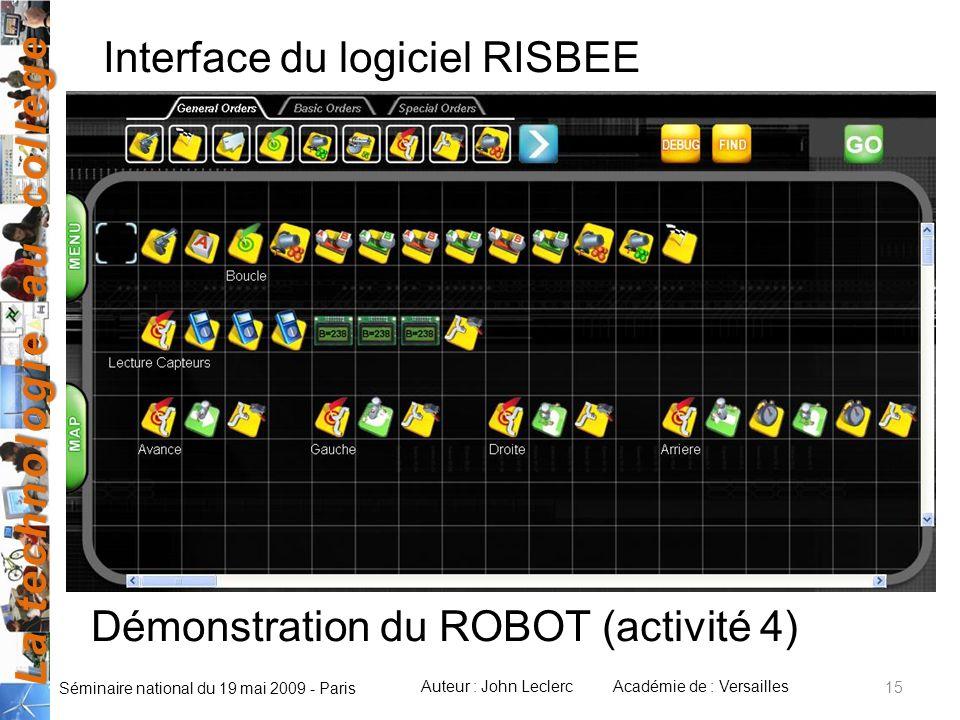 Interface du logiciel RISBEE