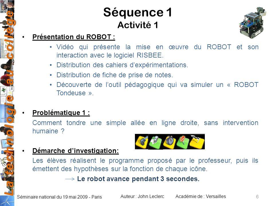 Séquence 1 Activité 1 Présentation du ROBOT :