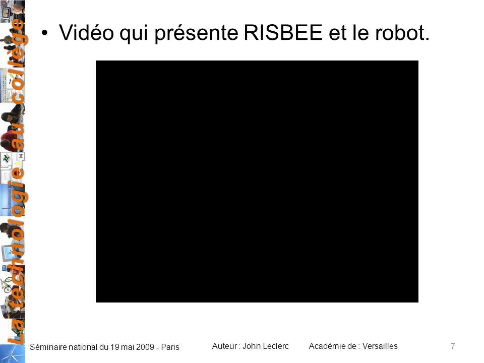 Vidéo qui présente RISBEE et le robot.