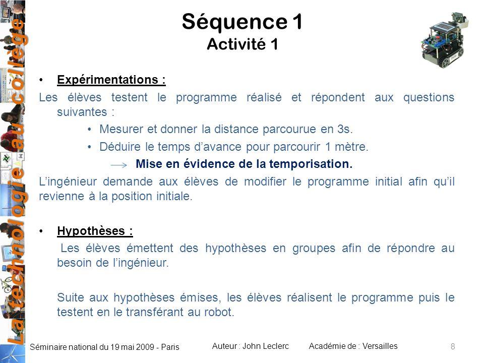 Séquence 1 Activité 1 Expérimentations :