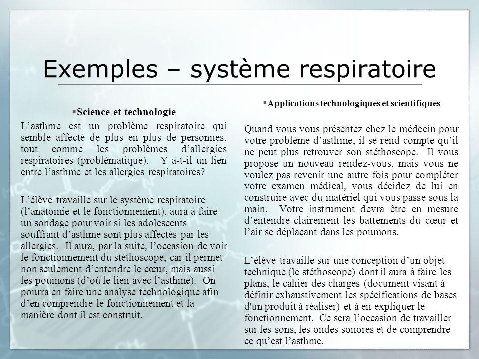 Exemples – système respiratoire