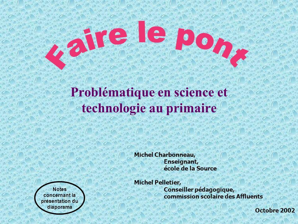 Problématique en science et technologie au primaire
