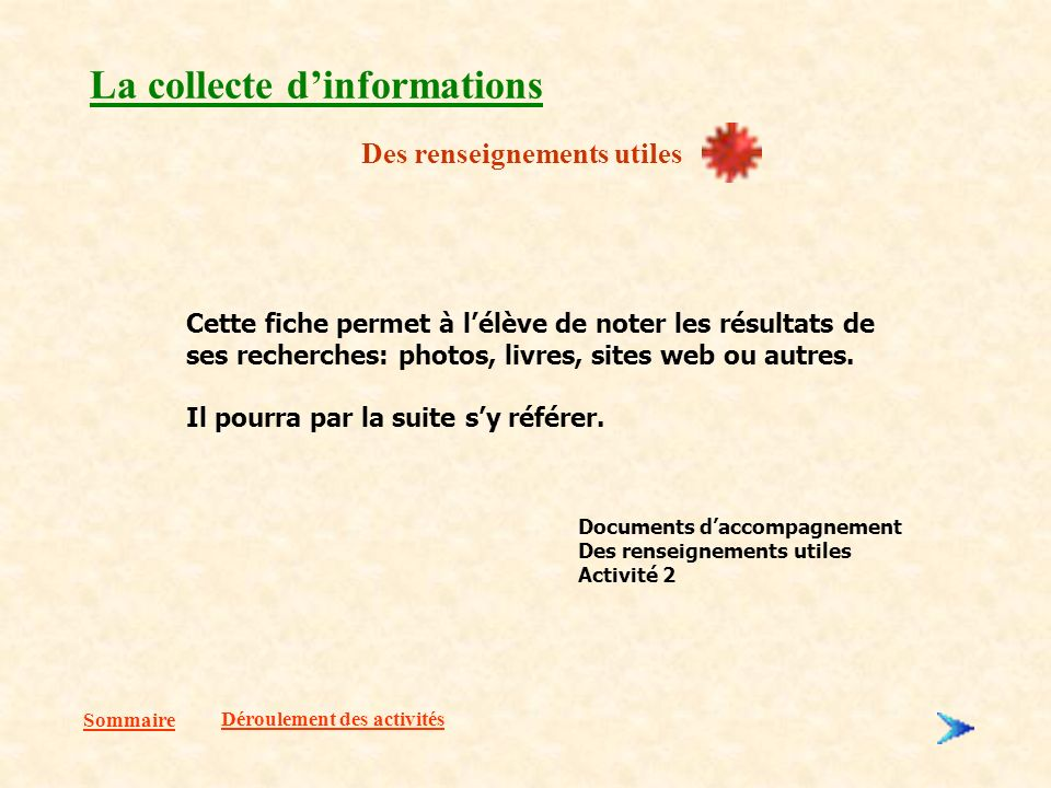 La collecte d'informations
