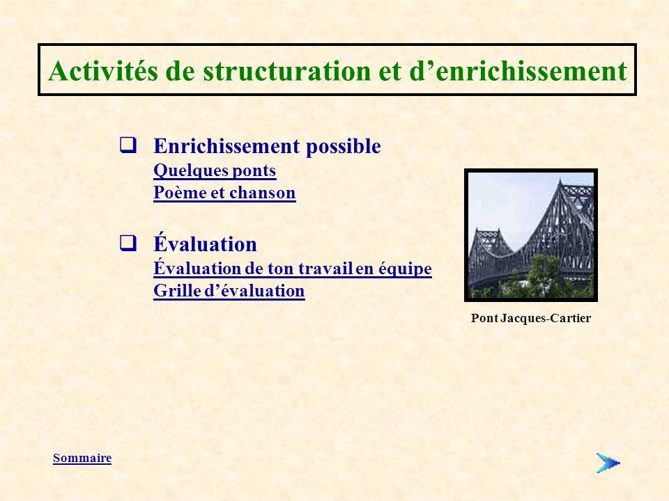 Activités de structuration et d'enrichissement