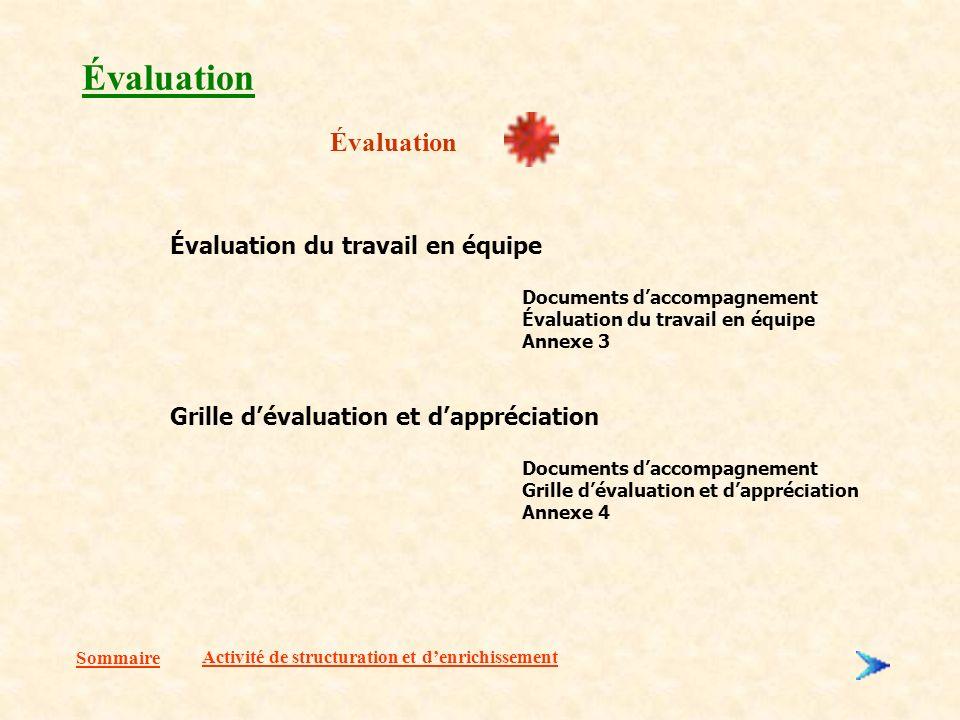 Évaluation Évaluation Évaluation du travail en équipe
