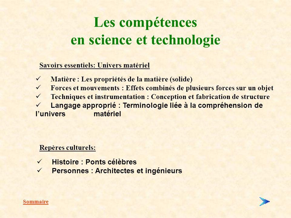 Les compétences en science et technologie