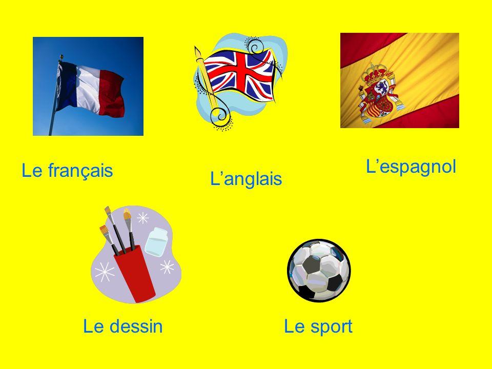 L'espagnol Le français L'anglais Le dessin Le sport