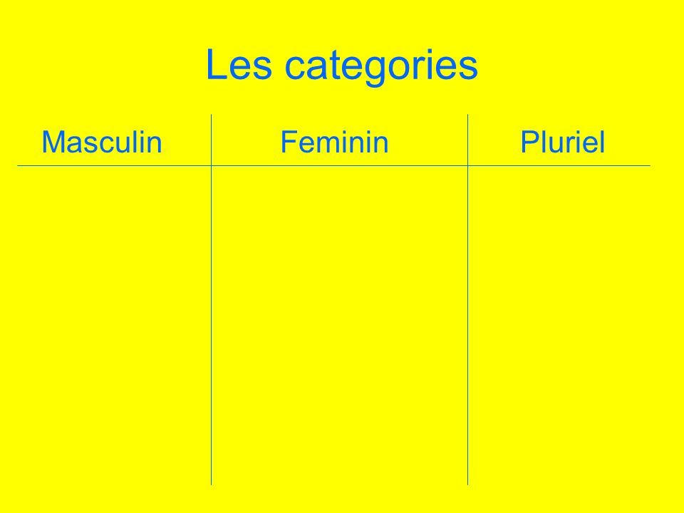 Les categories Masculin Feminin Pluriel