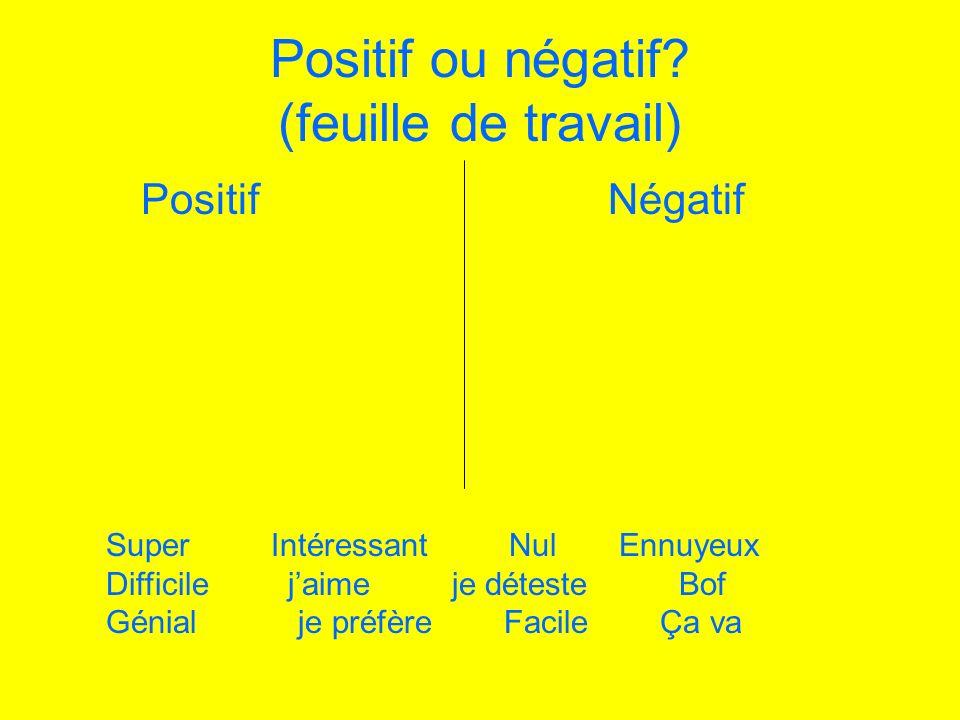 Positif ou négatif (feuille de travail)