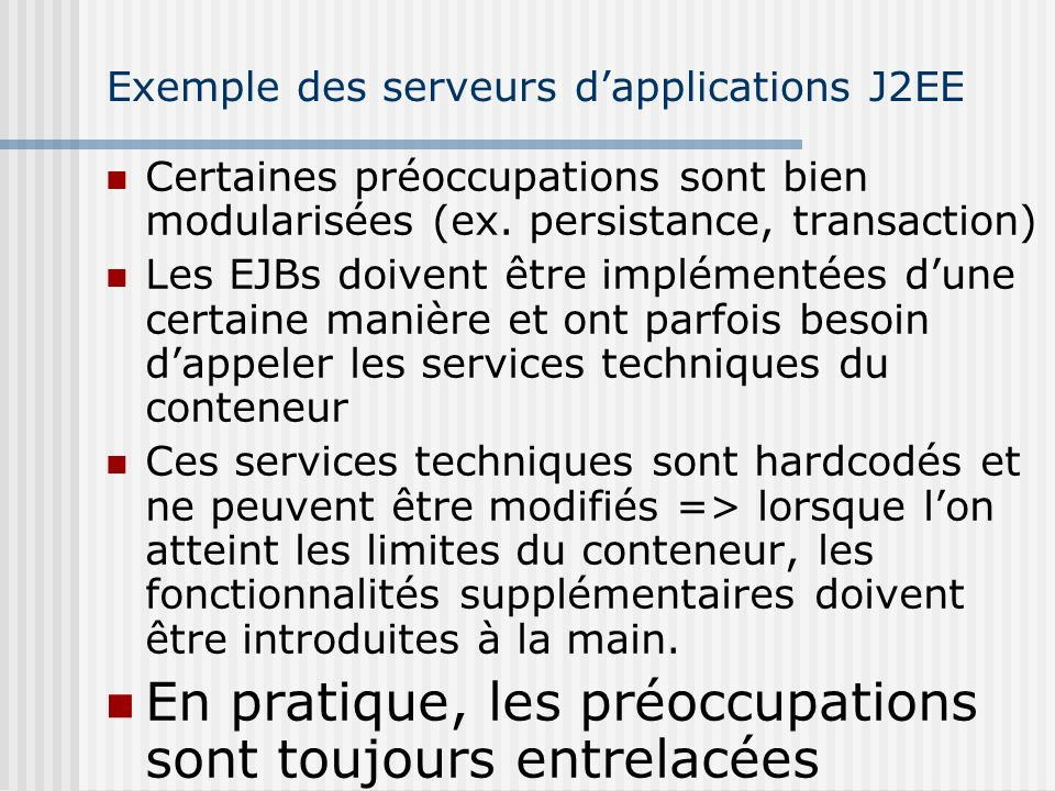 Exemple des serveurs d'applications J2EE