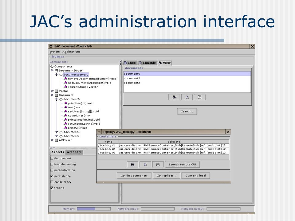 JAC's administration interface