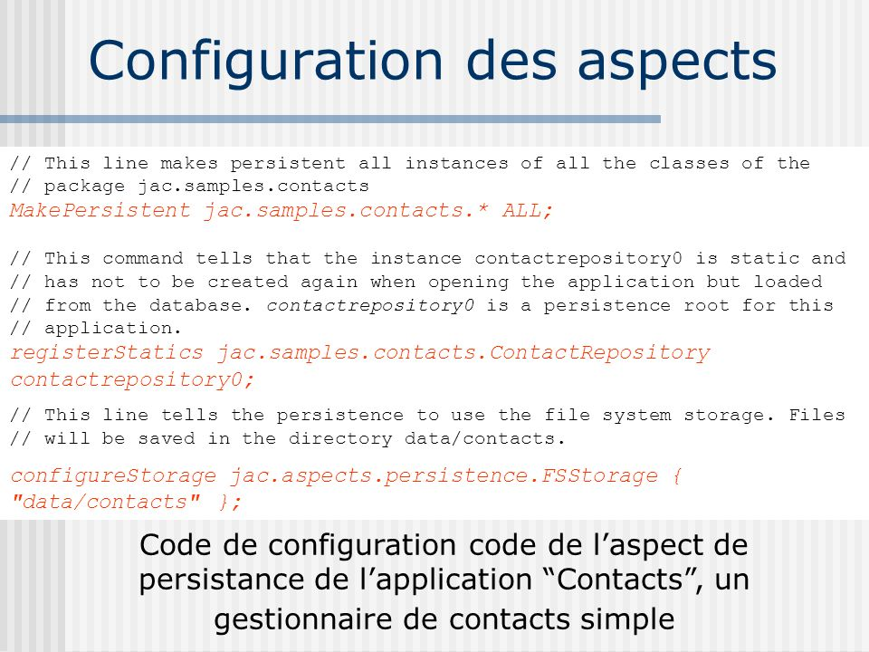 Configuration des aspects
